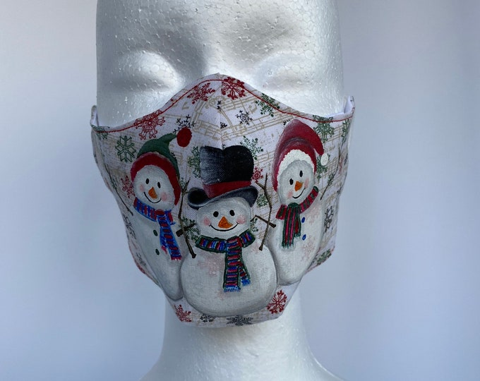 SNOWMEN 3 Layers of Cotton Face Mask w/ Filter Pocket and Soft Elastic Bands. Machine Washable. Handcrafted and Hand-Painted in USA.