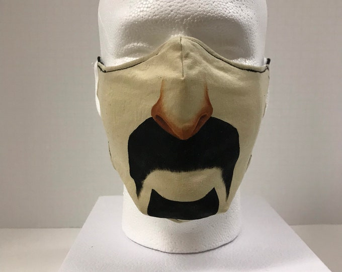 FRANK Mustache Face Mask 3 Layers of Light Cotton w/ Filter Pocket. Machine Washable and Reusable. Handcrafted and HandPainted in USA.