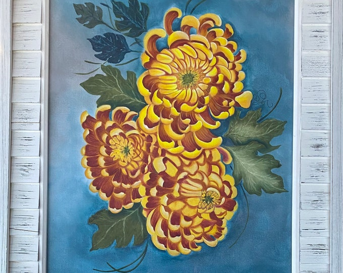 "CHRYSANTHEMUMS acrylics for textile hand painted on 100% cotton fabric size 11"" x 14""."