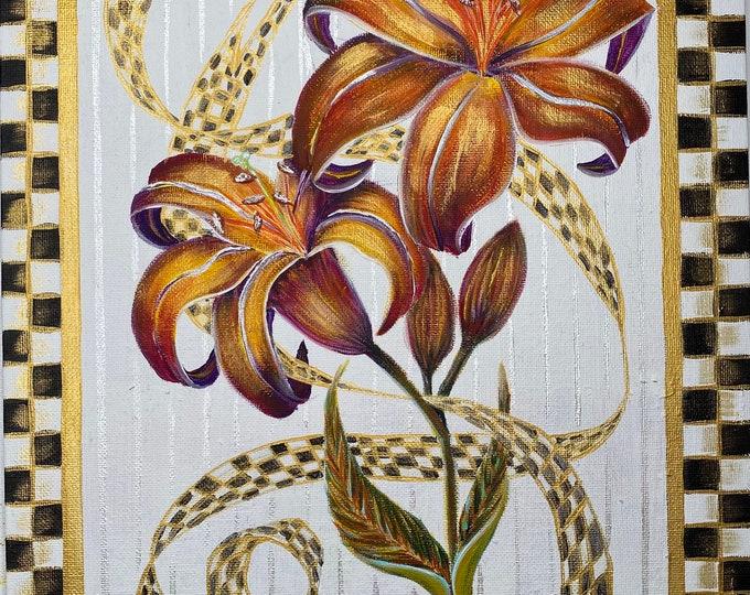 Golden Tiger Lilies Virtual Painting Tutorial Kit