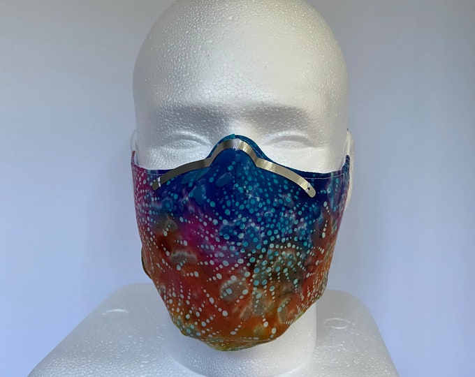 TIE DYE Unisex Adult 3 Layers of Cotton Face Mask w/ Filter Pocket, Soft Elastic and Wire Nose Bridge. Washable and Reusable.
