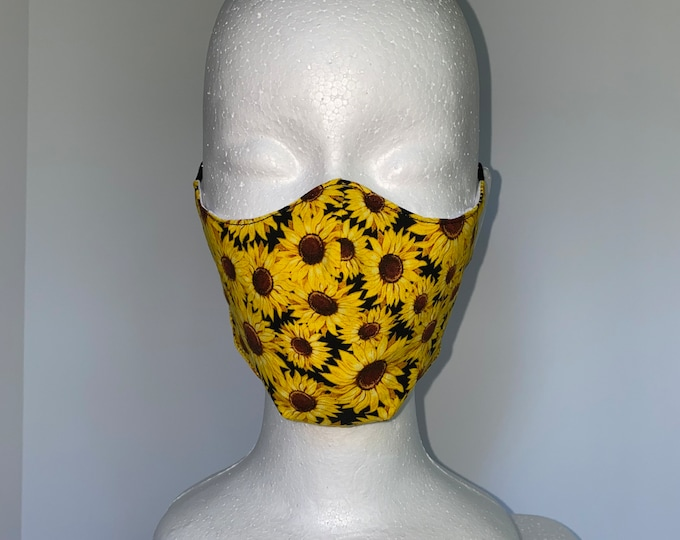 SUNFLOWER FIELD 3 Layers of Cotton Face Mask w/ Filter Pocket and Soft Elastic. Mask Holder Sold Separately. Machine Washable.