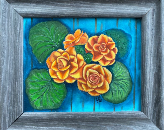 "BEGONIAS Acrylic Wall Art on Fabric Hand Painted on 8"" x 10"". Hanging Art Home Decor - Painting tutorial available for purchase."