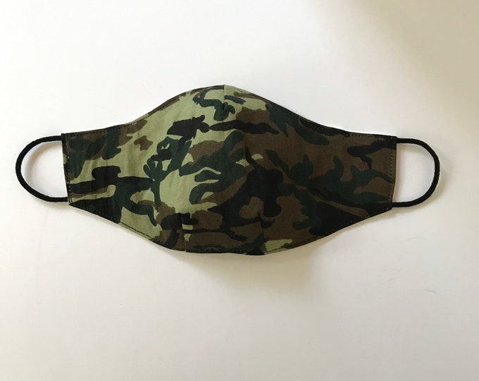 CHILD (8 - 12 yrs) Camouflage 3 Layers of Cotton Face Mask w/ Filter Pocket and Soft Elastic Bands. Machine Washable.