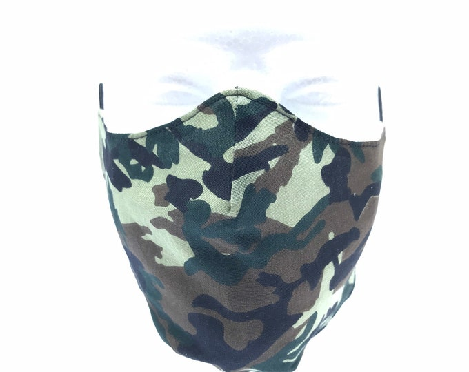 CAMOUFLAGE  3 Layers of Cotton Face Mask w/ Filter Pocket. Machine Washable and Reusable. Handcrafted in USA. Contact Seller for Child Size.