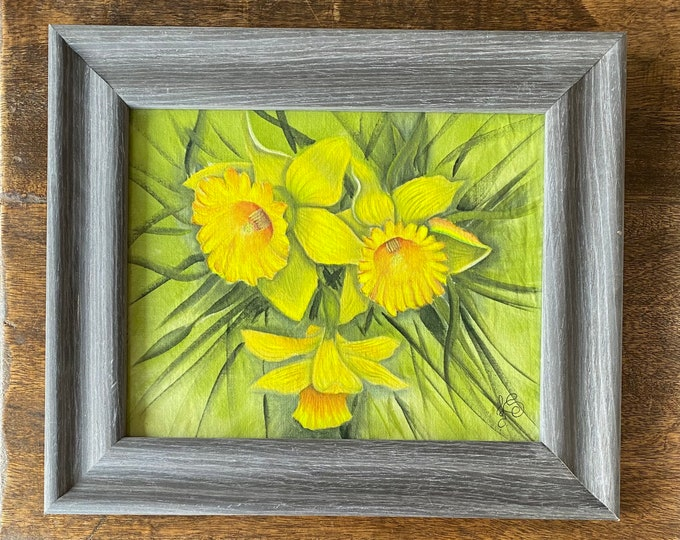 "DAFFODILS Acrylic Wall Art on Fabric Hand Painted on 8"" x 10"". Hanging Art Home Decor - Painting tutorial available for purchase."