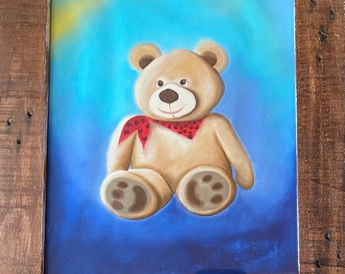 "TEDDY BEAR Acrylic Wall Art on Fabric Hand Painted on 8"" x 10"". Hanging Art Home Decor - Painting tutorial available for purchase."