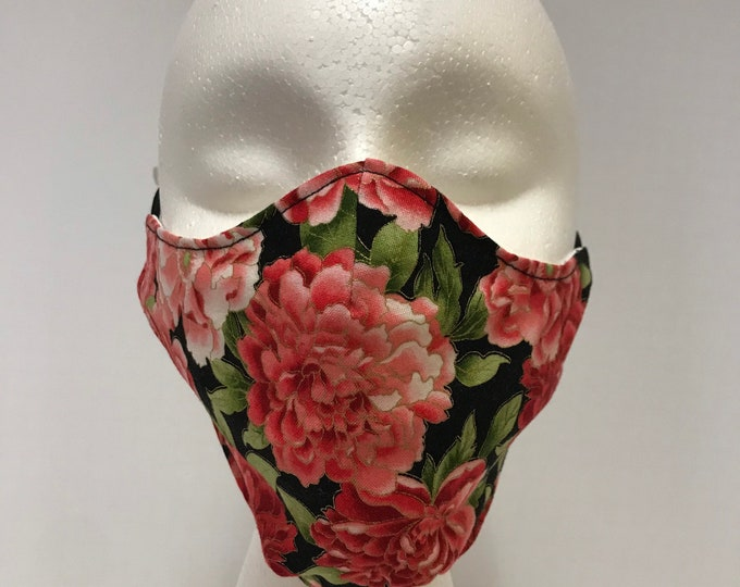 FLORAL Face Mask 3 Layers of Cotton w/ Filter Pocket. Machine Washable and Reusable. Handcrafted in USA.