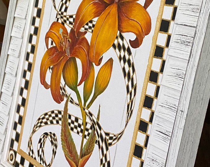 """Golden Lilies & Ribbon in a Checkered Black, White and Gold Frame Original Painting on a 14"""" x 11"""" Canvas Panel."""