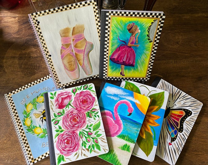 Journals and Notebooks - tutorials also available at https://www.facebook.com/BazaarPizzazz/. Hand Painted in the USA Individually Priced.