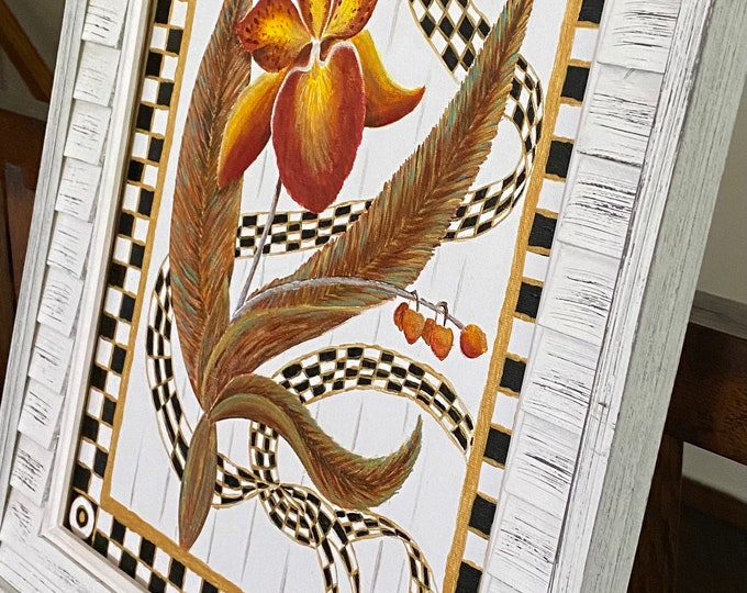 """Golden Orchid & Ribbon in a Checkered Black, White and Gold Frame Original Painting on a 14"""" x 11"""" Canvas Panel."""
