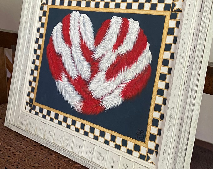 """Golden Heart of Feathers in a Checkered Navy Blue, White and Gold Frame Original Painting on a 14"""" x 11"""" Canvas Panel."""