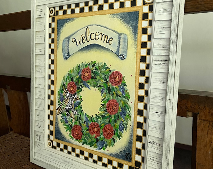 """Golden Welcome Wreath in a Checkered Black, White and Gold Frame Original Painting on a 14"""" x 11"""" Canvas Panel."""