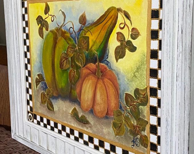 """Golden Pumpkins in a Checkered Black, White and Gold Frame Original Painting on a 14"""" x 11"""" Canvas Panel."""