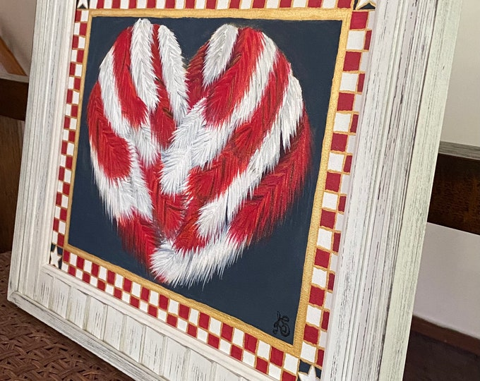 """Golden Heart of Feathers in a Checkered Red, White and Gold Frame Original Painting on a 14"""" x 11"""" Canvas Panel."""