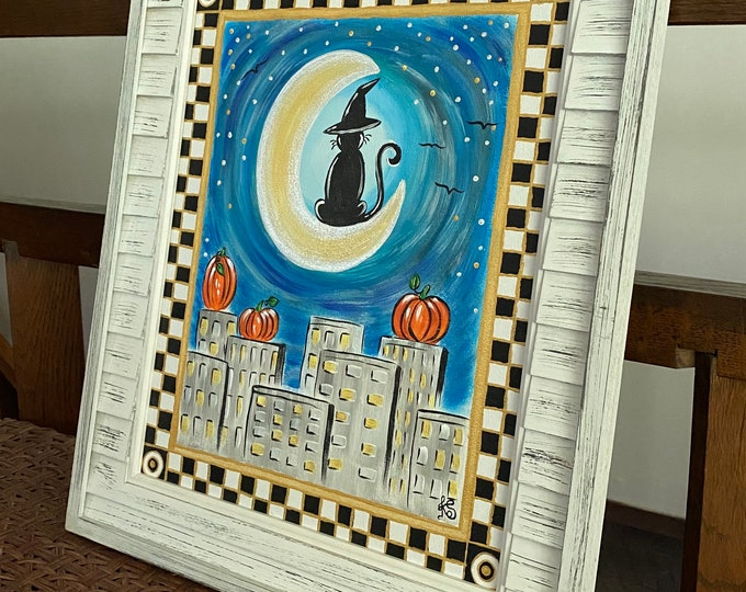 """Golden Cat on a Moon Over City and Pumpkins in a Checkered Black, White and Gold Frame Original Painting on a 14"""" x 11"""" Canvas Panel."""