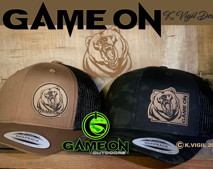 Grizzly GAME ON! SnapBack hat available in grizzly brown or black multicam