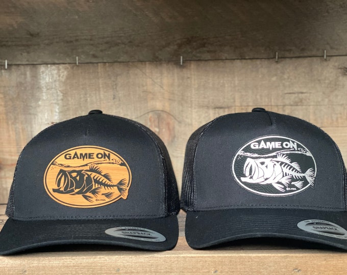 Game On Bass top water design (snap back hat)