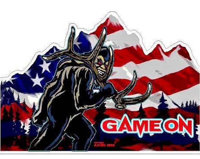 """Patriot Sasquatch shed hunter -     GAME ON 6"""" decal"""