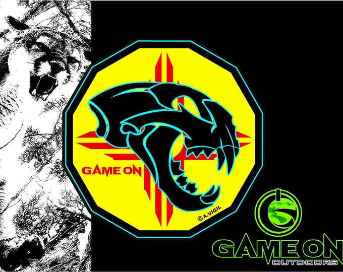 New Mexico Mountain lion skull. GAME ON decal- large