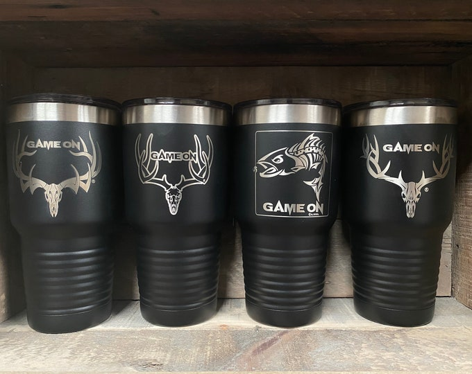 Game On 30oz tumbler- elk, mule deer or trout available in black or white