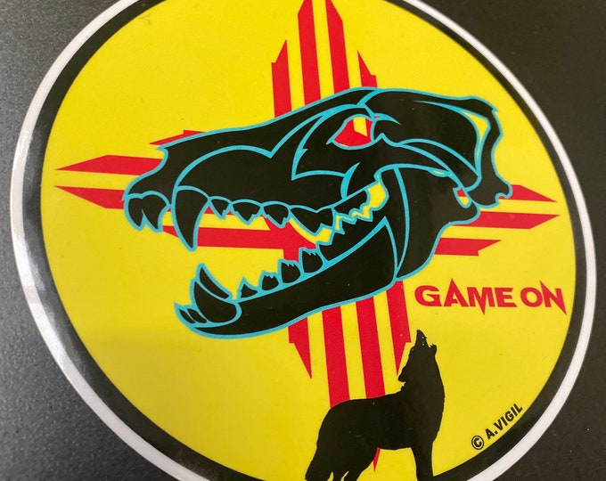 """New Mexico Game on Coyote design- GAME ON 6"""" OR 3.5'' decal copyrights Adrian Vigil 2020"""