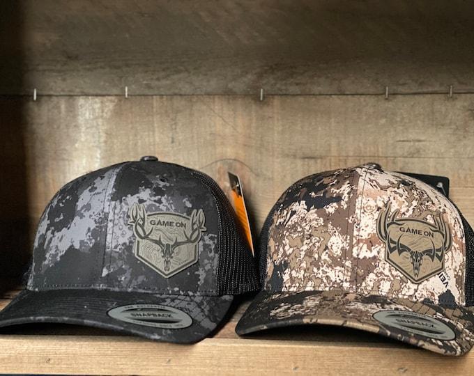 Game On Topo Design on Veil camo SnapBack trucker hat