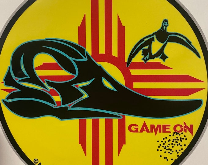 New Mexico Waterfowl GAME ON decal- large and small -copyrights Adrian V 2020