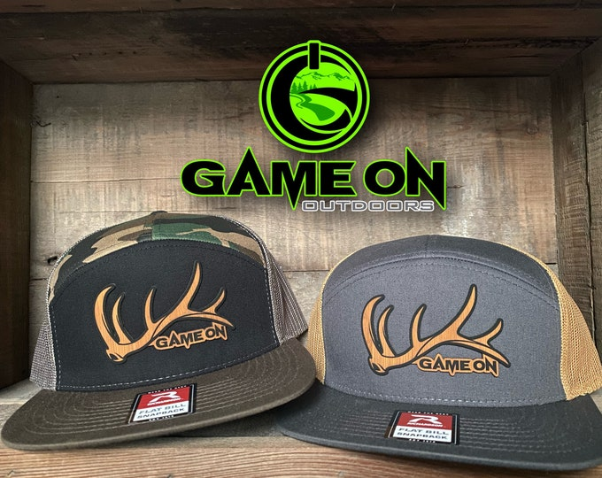 Game On Flat Bill bull elk shed  (snap back hat) patch hat