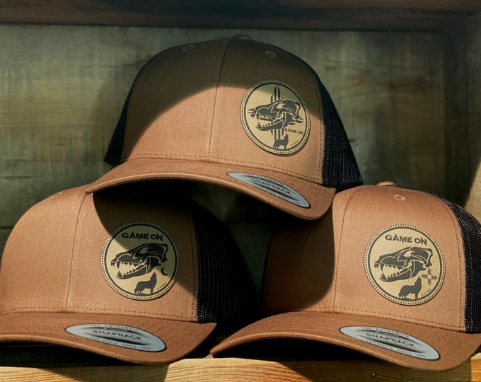 Game On COYOTE hat. Snap back hat in coyote brown available in 3 designs