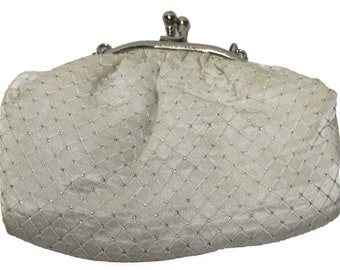 Vintage White and Silver Clutch with Chain Link Strap