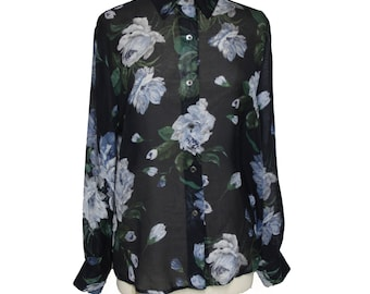6e59187a Vintage Dark Black/Blue Sheer Floral Silk Button Down Shirt