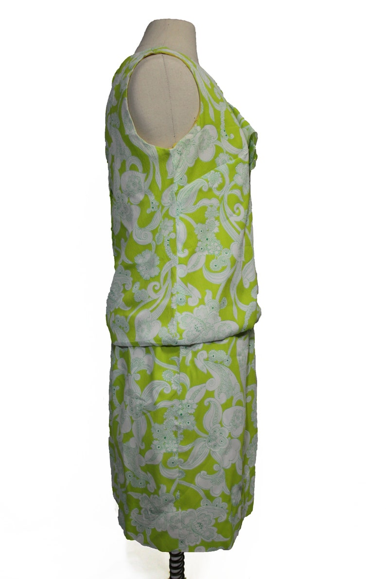 Vintage Retro 60s Style Neon Floral Two Piece Blouse and Skirt Set
