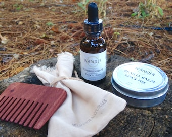 Beard Gift Set | Beard Kit | Beard Grooming Kit | Beard Balm | Beard Oil | Custom Beard Kit | Men's Gift | 1oz Oil, 2oz Balm, Comb, Pouch