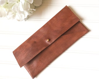 Large Leather Clutch, Brown Leather Wallet, Envelope, Coin Purse, Pouch, Organizer