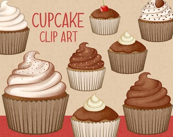 Chocolate cupcake clip art | cupcakes - muffin - baking clip art | Printable Digital Illustration