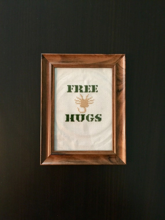 Pattern Only Free Hugs Facehugger Cross Stitch Etsy