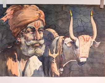 Original Watercolor of an Indian Man and Cow by Listed Artist G. D. ThyagaRaj