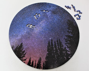 Milky Way Puzzle - Round Night Sky Wooden Jigsaw Puzzle for Adults - 330 Pieces for Advanced Puzzlers - Original Circle Geometric Cut Design