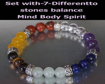 Stretch Bracelet Chakra Set 7  healing Gemstones  to balance your body and mind.  Natural Gifts