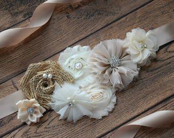 Neutral Sash, #2 , flower Belt, maternity sash, wedding sash, flower girl sash, maternity sash belt