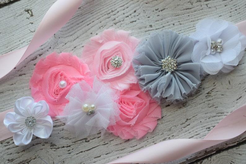 flower Belt wedding sash maternity sash belt maternity sash flower girl sash Grey pink white Sash