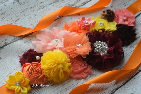 Coral yellow white pink Sash maternity sash fall sash flower Belt