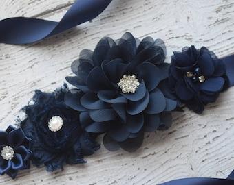 Flower Sash, navy Sash, flower Belt, maternity sash, wedding sash, maternity sash girl, flower girl sash, gray sash