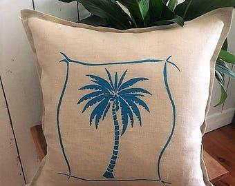 Tropical Palm Tree, Cushion cover Hand printed onto Linen, Made in Australia Aqua