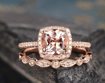 Rose Gold Engagement Ring Morganite Ring Bridal Set Halo Diamond Cushion Cut Wedding Ring Anniversary Gift For Her Women Half Eternity
