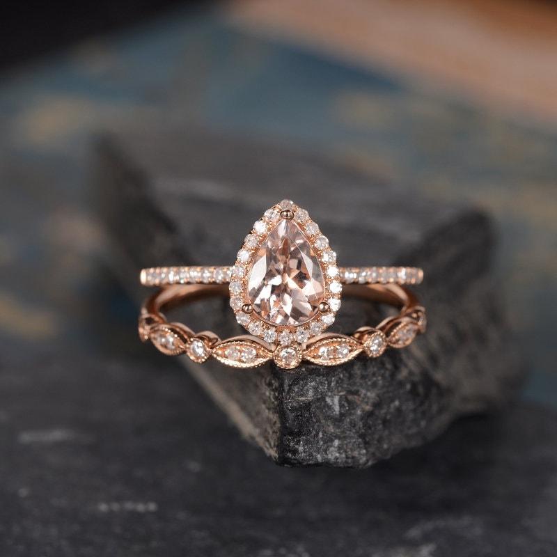 Morganite Engagement Ring Rose Gold Bridal Set Pear Shaped
