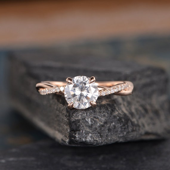 Infinity Moissanite Engagement Ring Rose Gold Twist Solitaire Etsy