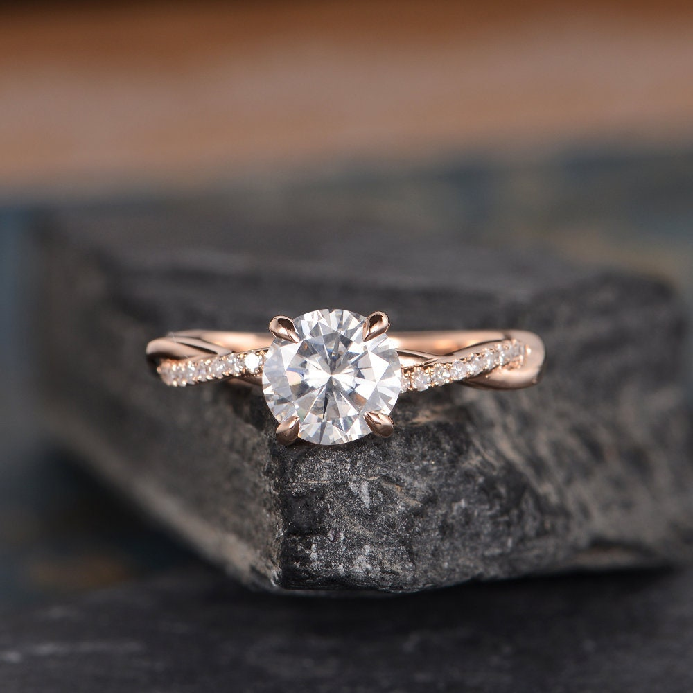 Moissanite Engagement Ring Rose Gold Twist Infinity Solitaire image 0
