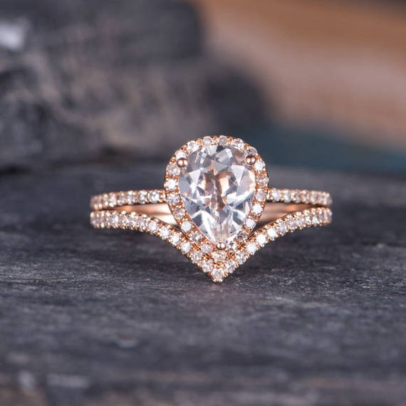 White Topaz Engagement Ring Pear Shaped Rose Gold Curved Etsy